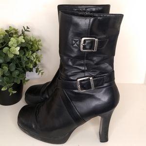 DIBA Boots 7 Vegan Leather Black Side Zip Buckle